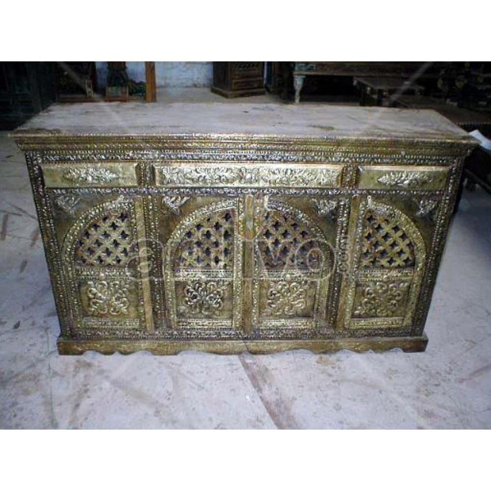 Vintage Indian Engraved Supreme Solid Wooden Teak Sideboard