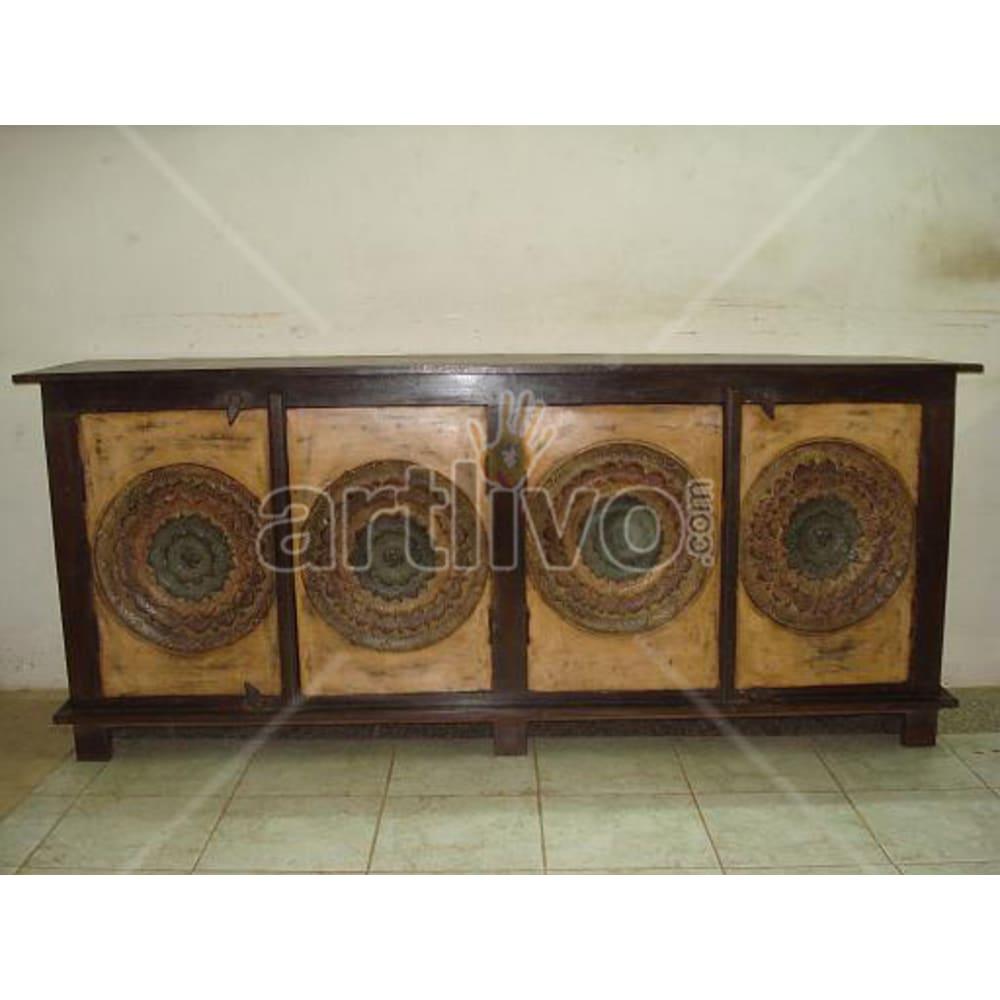 Vintage Indian Engraved Marvellous Solid Wooden Teak Sideboard