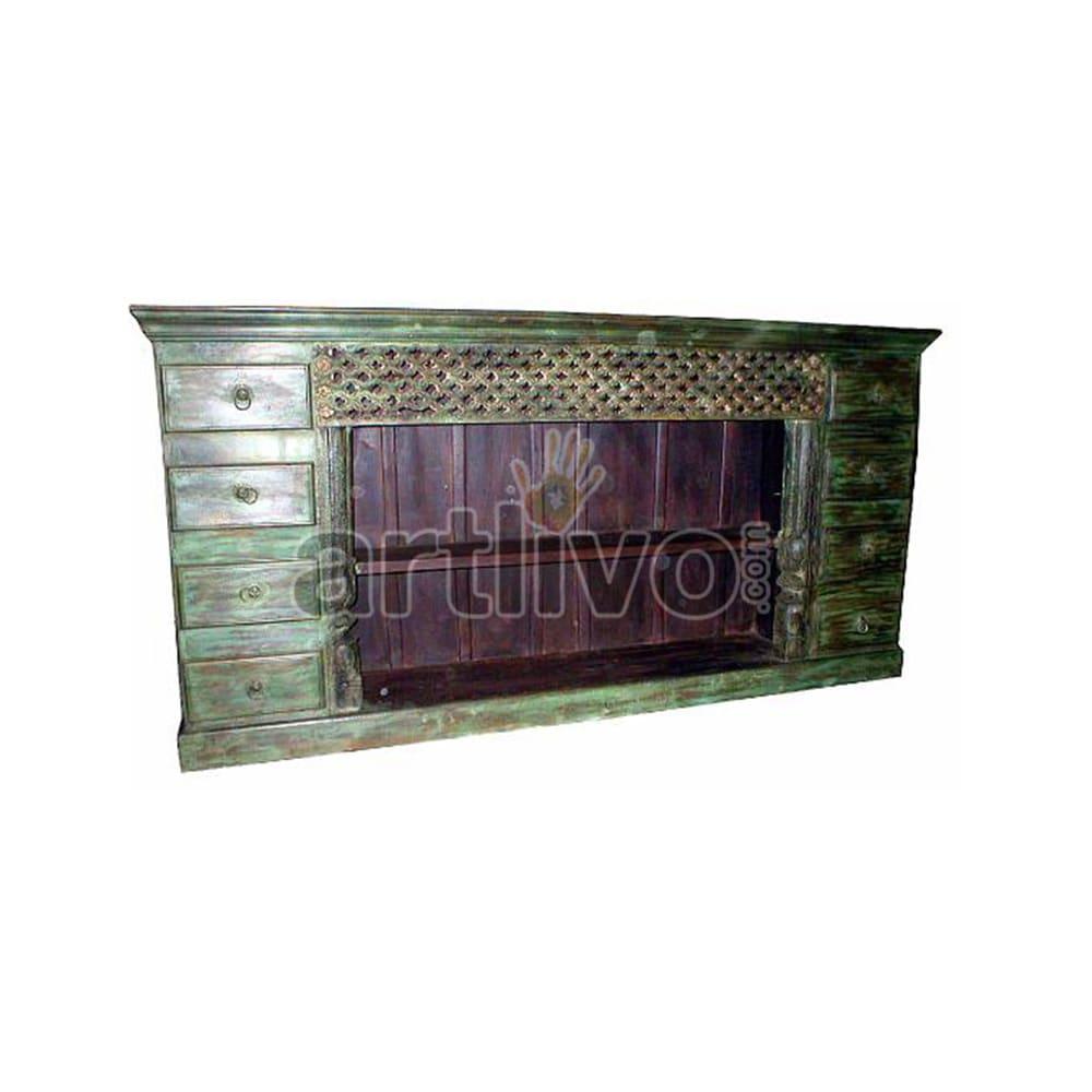 Vintage Indian Sculpted Rich Solid Wooden Teak Sideboard