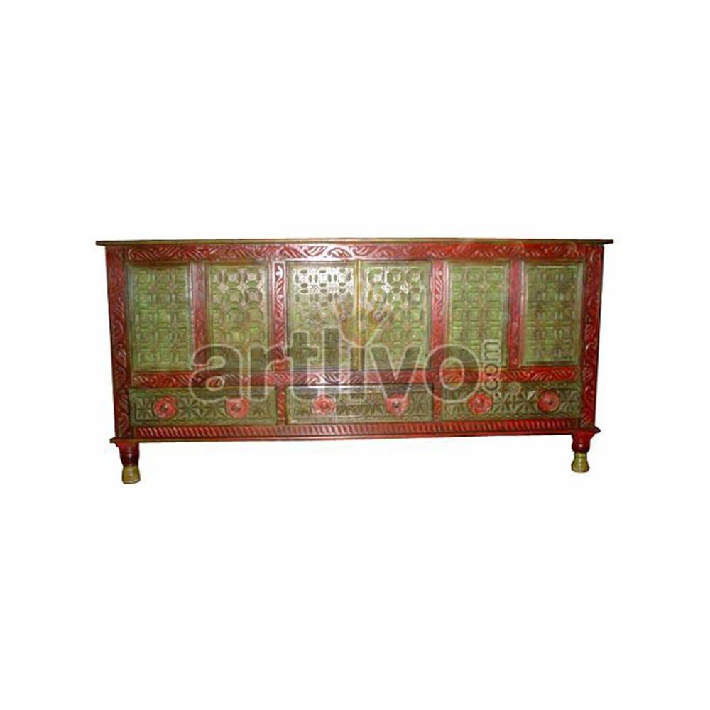 Vintage Indian Sculpted Deluxe Solid Wooden Teak Sideboard