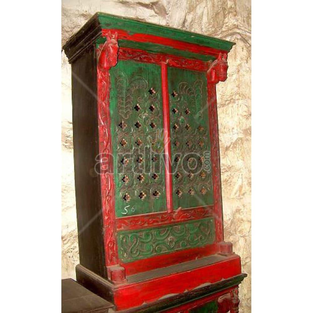 Vintage Indian Sculpted Splendid Solid Wooden Teak Sideboard