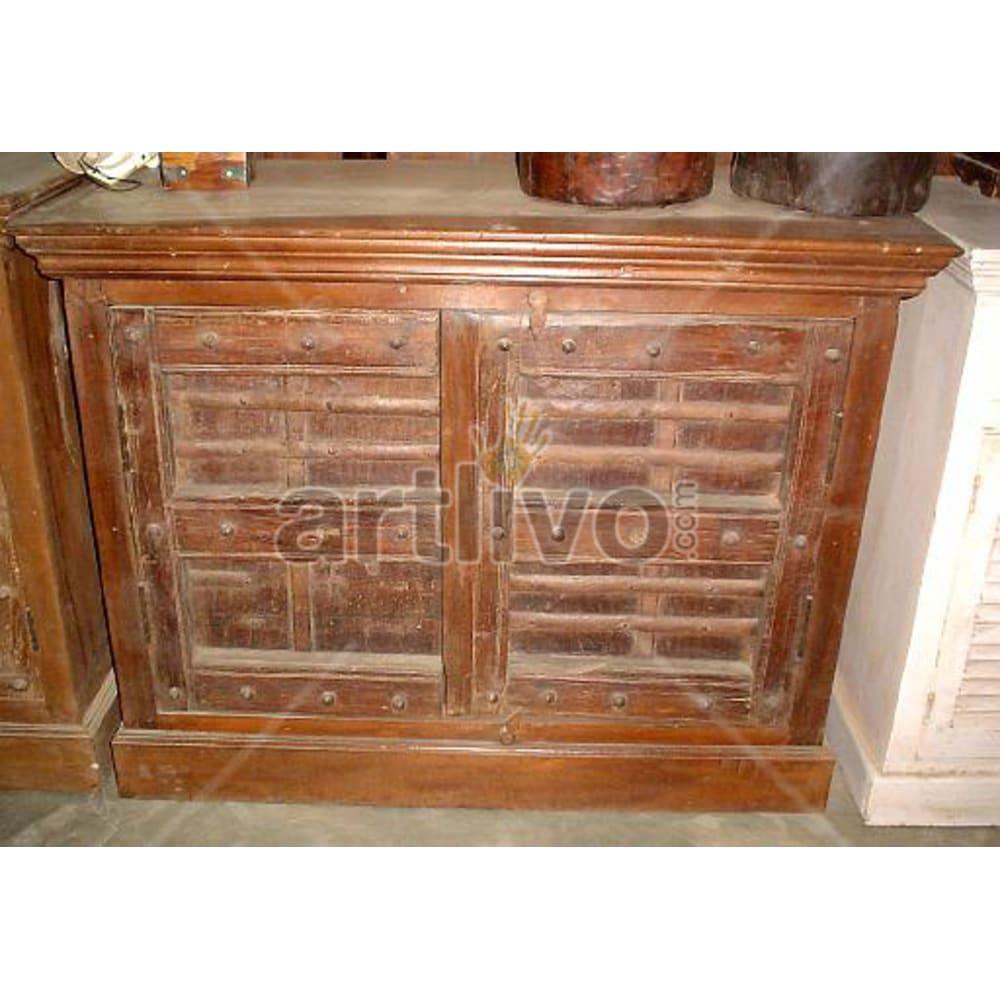 Vintage Indian Sculptured Royal Solid Wooden Teak Sideboard