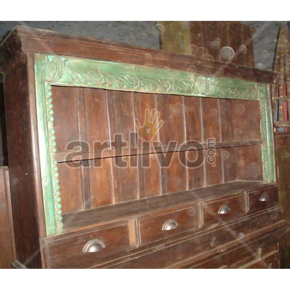 Vintage Indian Beautiful Deluxe Solid Wooden Teak Sideboard