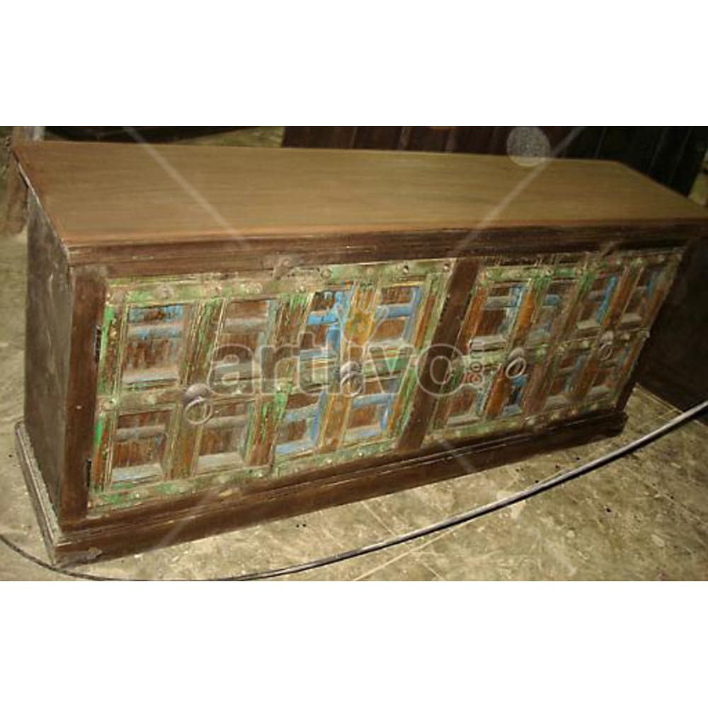 Antique Indian Carved aristocratic Solid Wooden Teak Sideboard