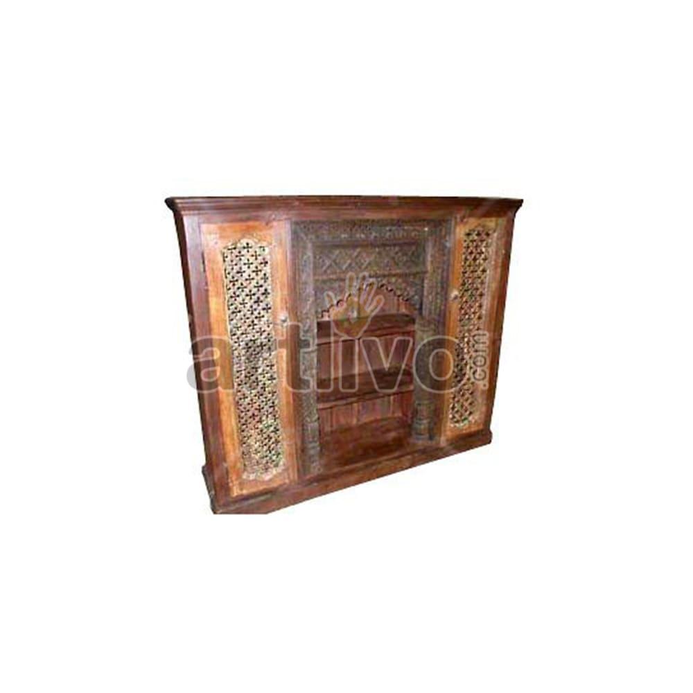 Antique Indian Brown aristocratic Solid Wooden Teak Sideboard