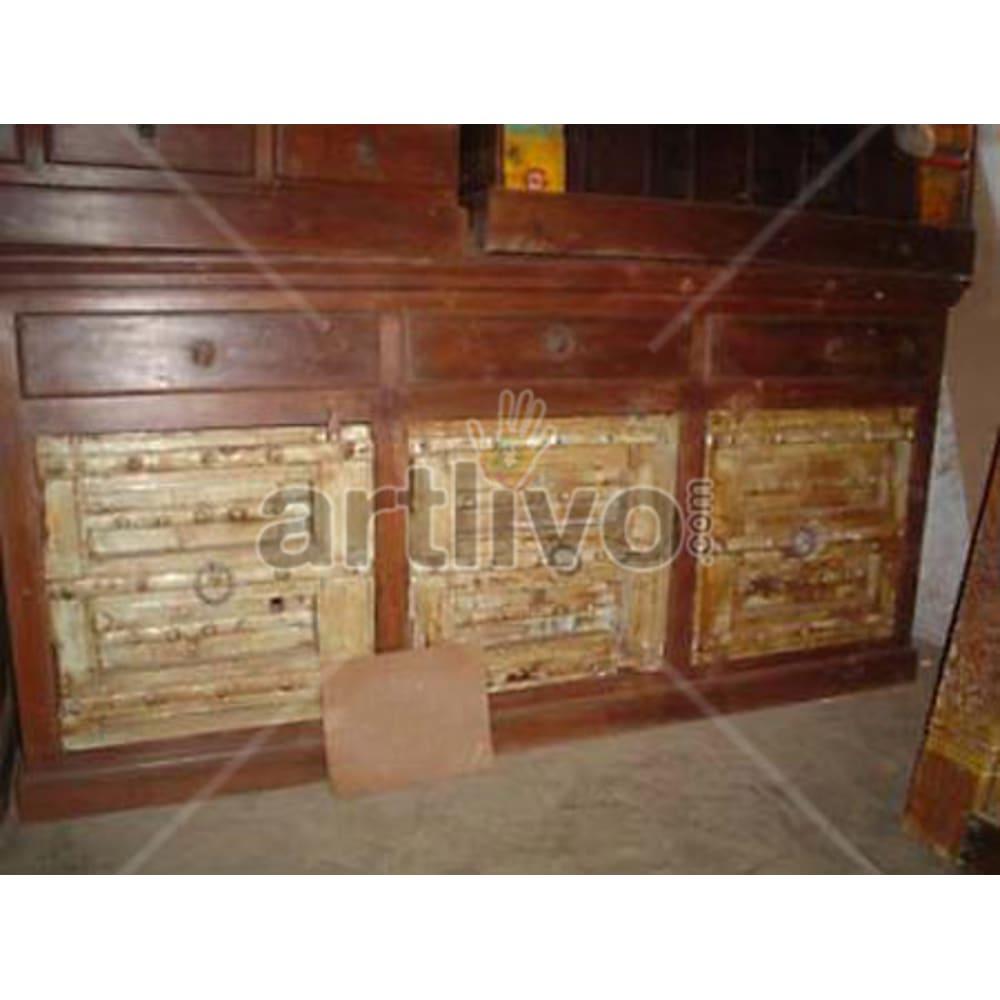 Antique Indian Engraved Superb Solid Wooden Teak Sideboard