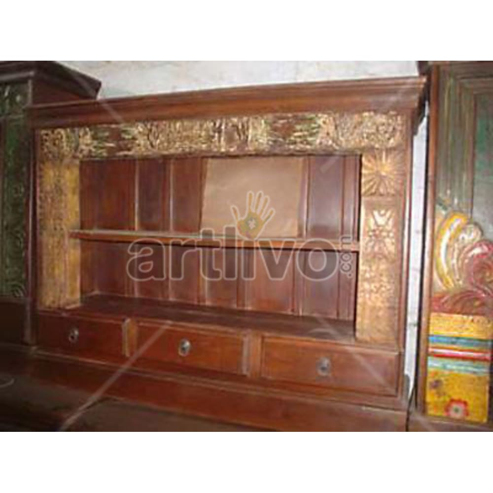 Antique Indian Engraved Marvellous Solid Wooden Teak Sideboard