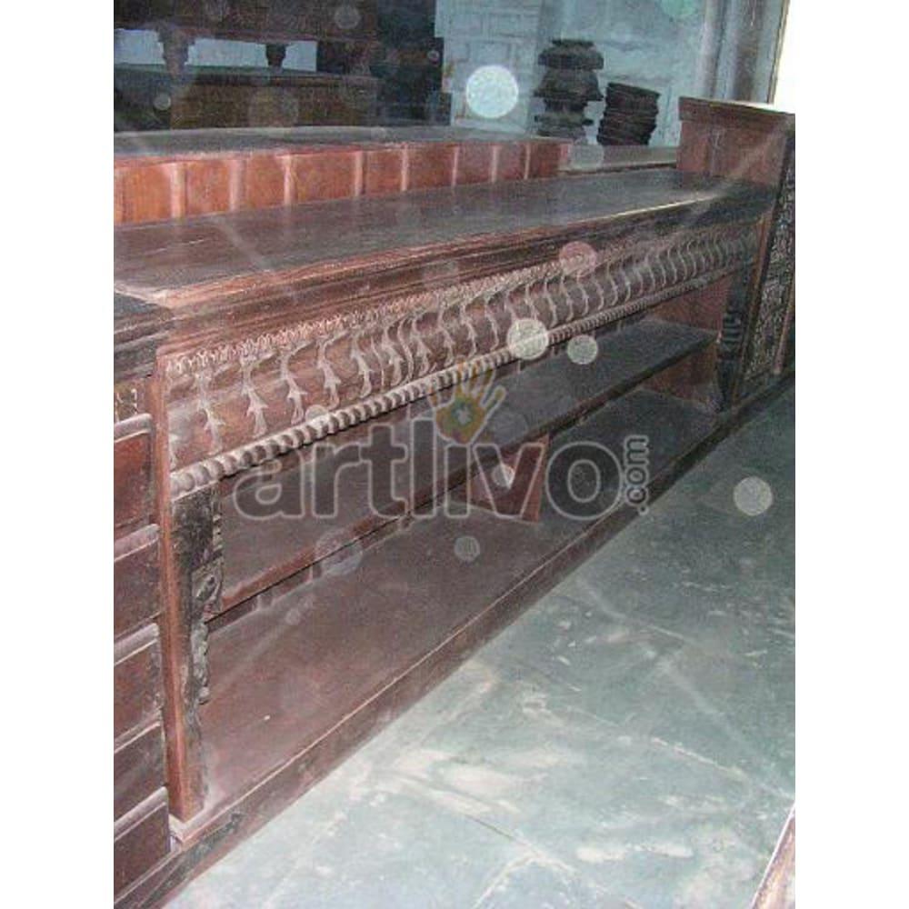 Antique Indian Sculpted Splendid Solid Wooden Teak Sideboard