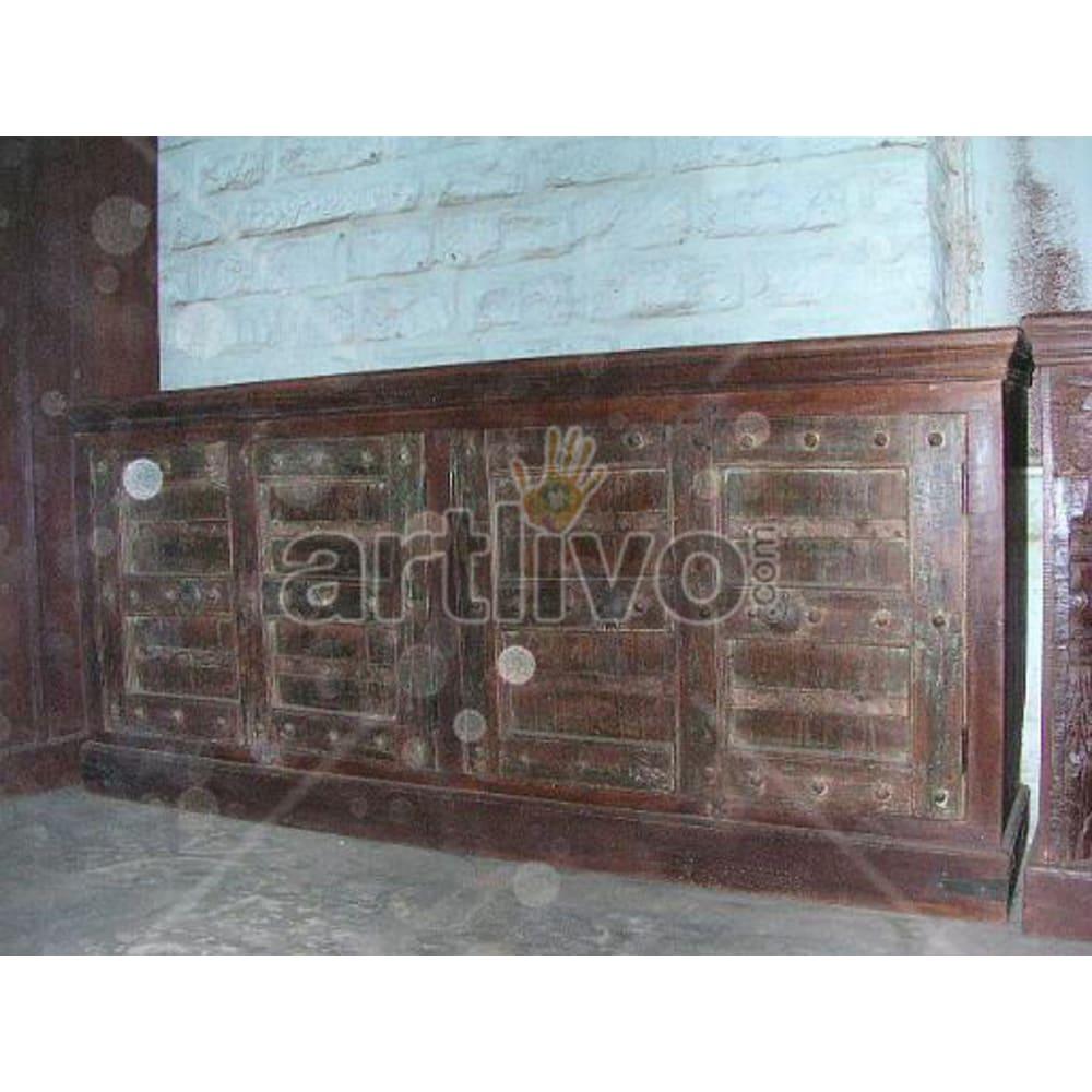 Antique Indian Sculpted Marvellous Solid Wooden Teak Sideboard