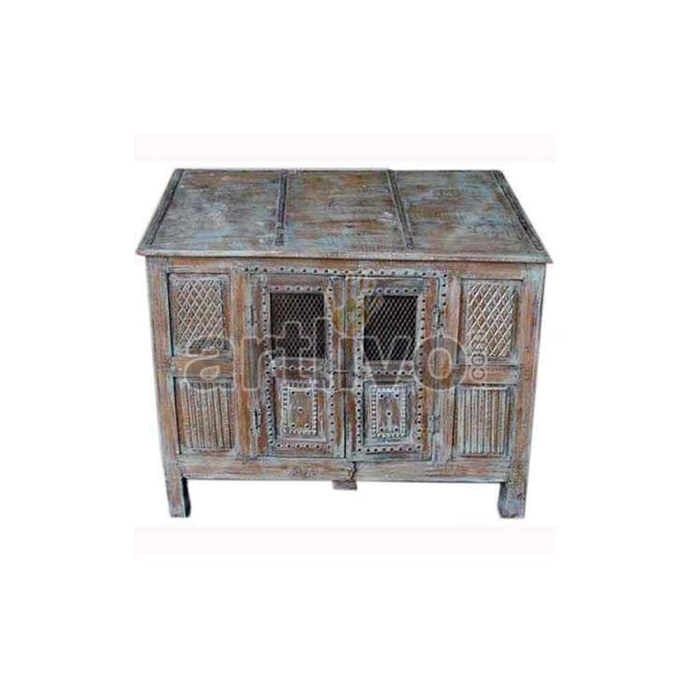 Antique Indian Sculptured Luscious Solid Wooden Teak Sideboard