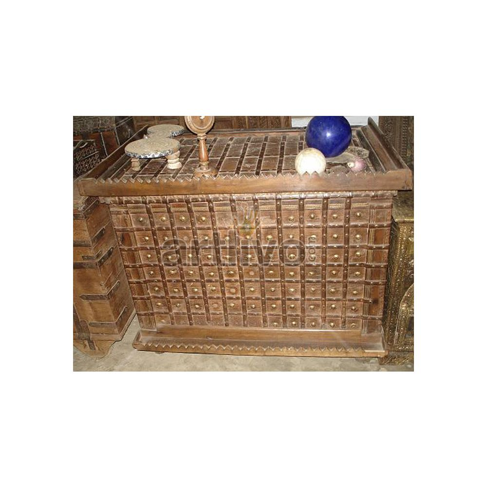 Old Indian Carved aristocratic Solid Wood Rustic Look Trunk