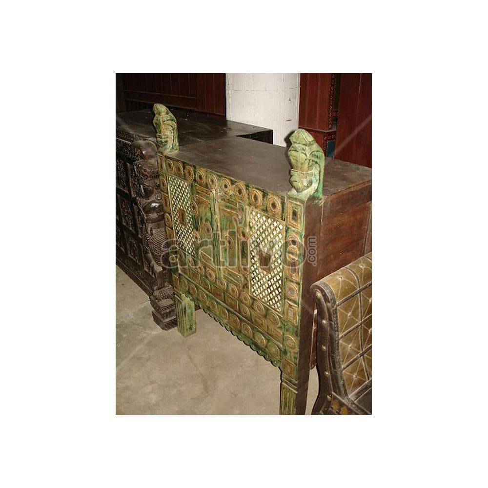 Old Indian Carved Supreme Solid Wood green color design Trunk