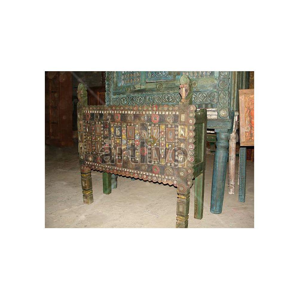 Old Indian Carved Superb Solid Wood colorfull design Trunk