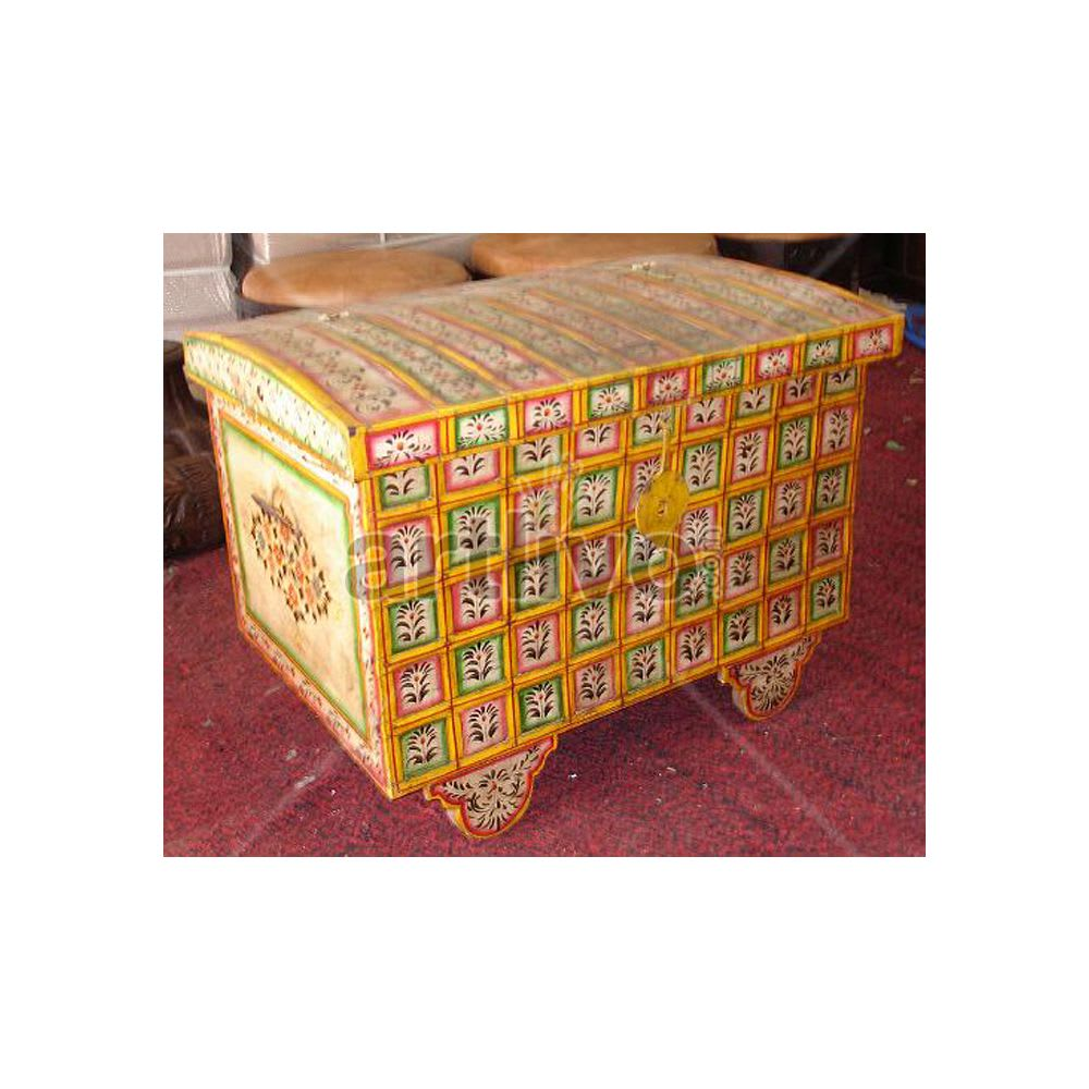Old Indian Brown Ostentatious Solid Wood colorfull design Trunk