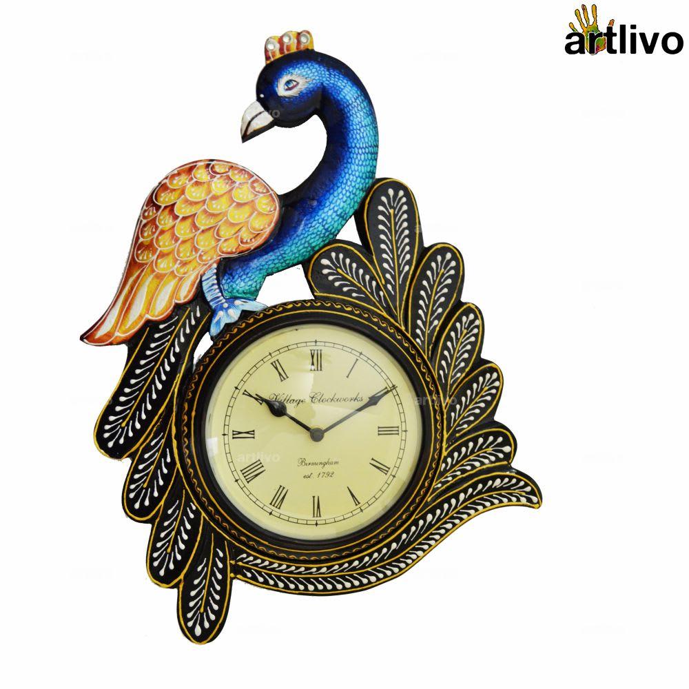 "POPART Peacock Wall Clock 21"""