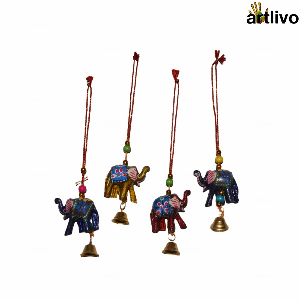 POPART Small Car Hanging/ Decorative Accessory Elephant with Bell - Set of 4