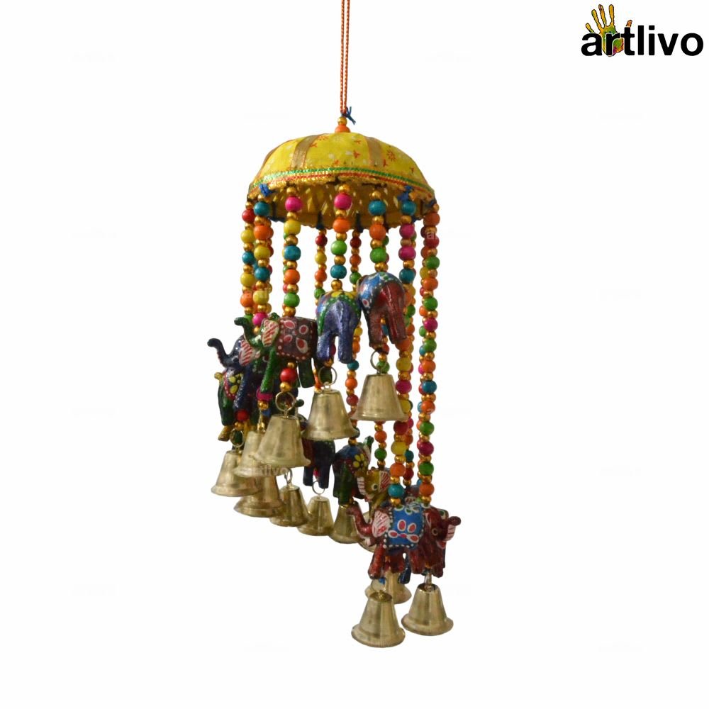 """POPART Elephant Jhoomar with bells and 4"""" basket - Yellow"""