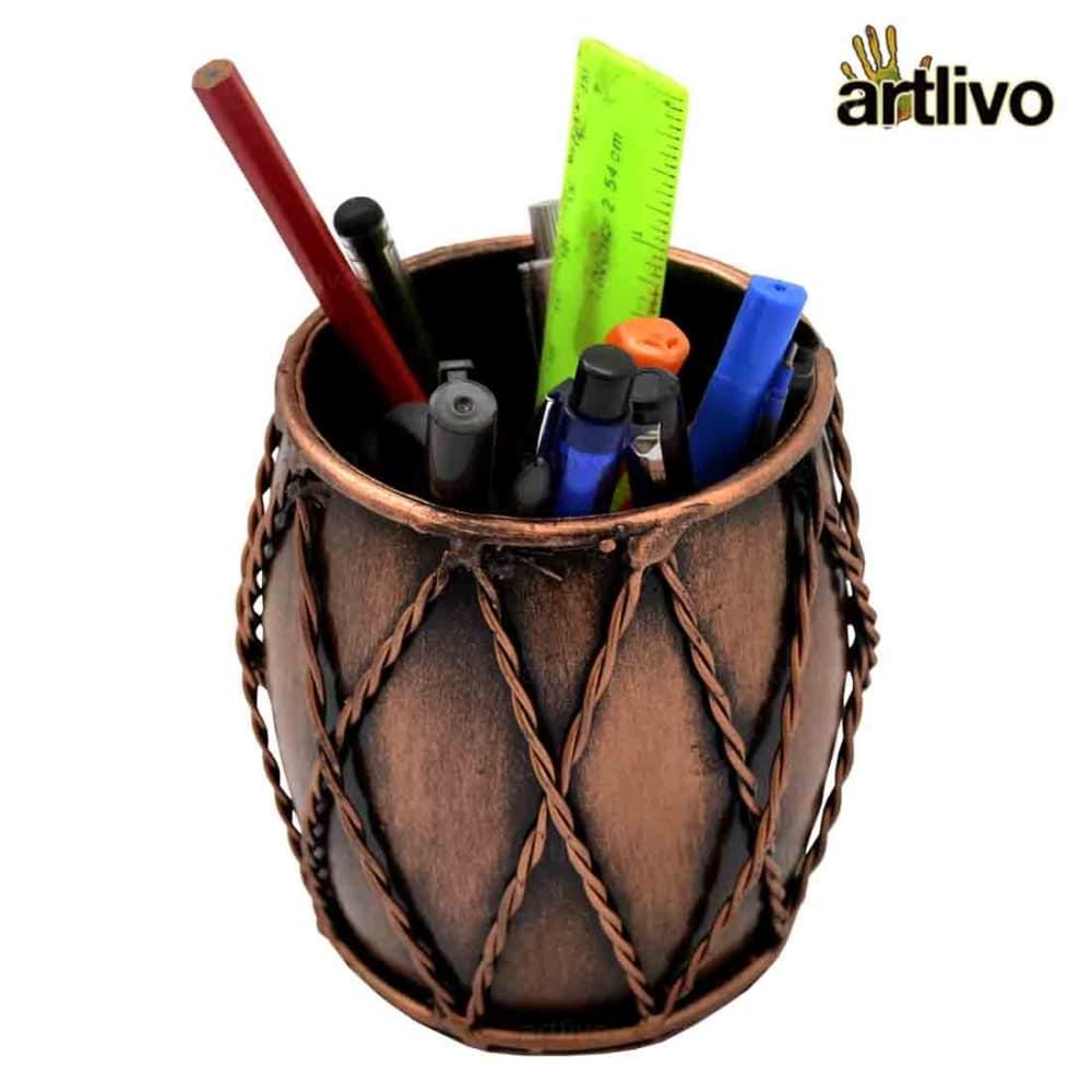 Iron Dholak Pen Stand - Copper