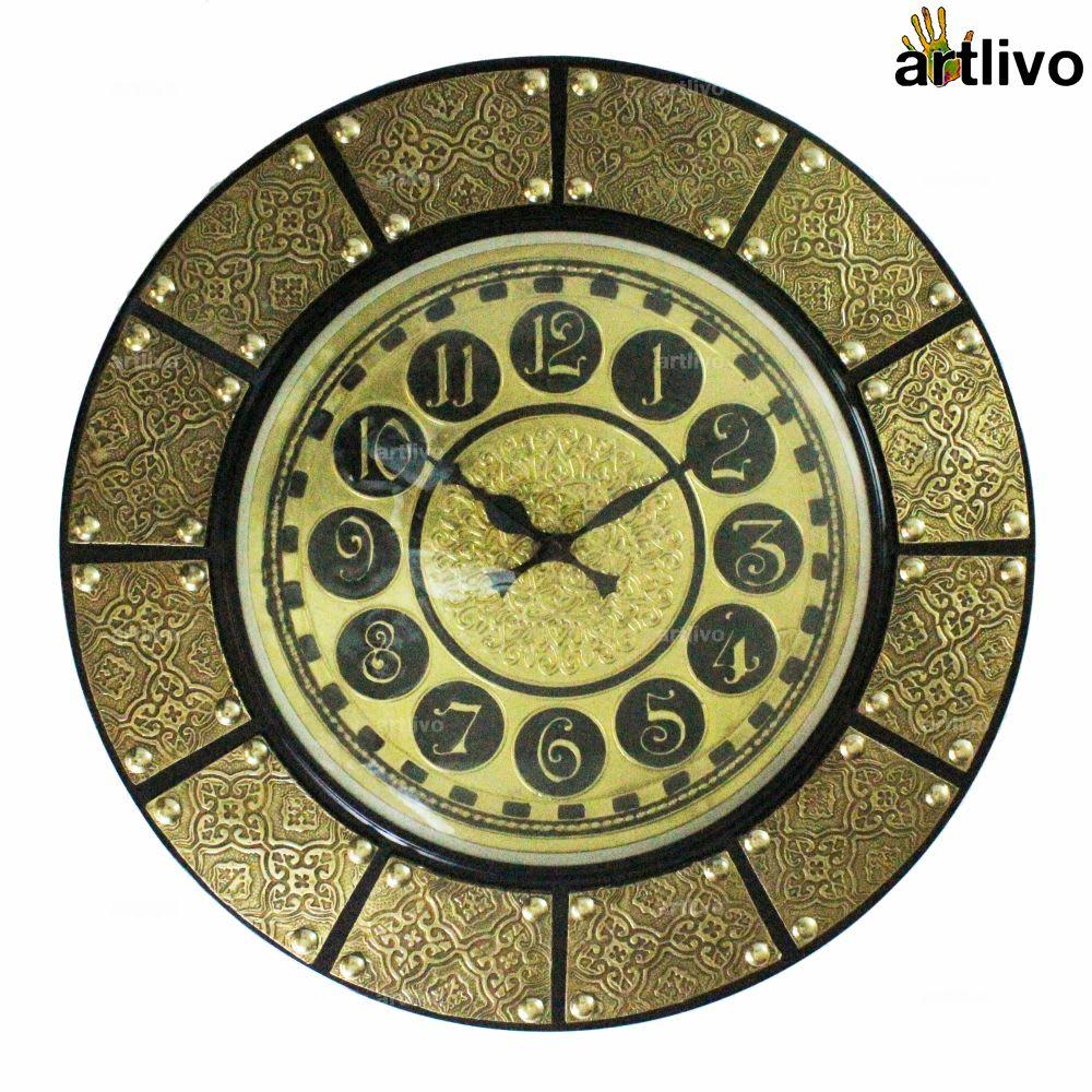 """UBER ELEGANT Carved Coaster 12"""" Dial Clock"""