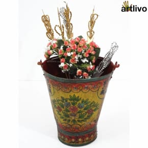 POPART Red & Yellow Flowers Iron Bucket