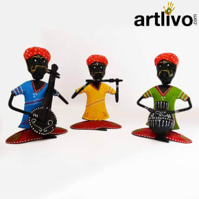 Metal Rajasthani Musician Set Of 3