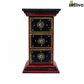 3 Drawer Pillar Table - Red