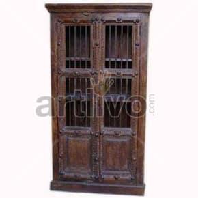 Vintage Indian Sculptured Palatial Solid Wooden Teak Almirah