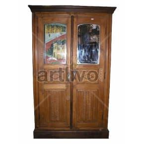Vintage Indian Beautiful Deluxe Solid Wooden Teak Almirah