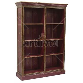 Vintage Indian Brown Lavish Solid Wooden Teak Bookshelf