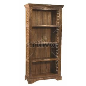 Vintage Indian Brown Aristocratic Solid Wooden Teak Bookshelf