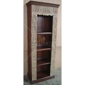 Vintage Indian Brown Superb Solid Wooden Teak Bookshelf