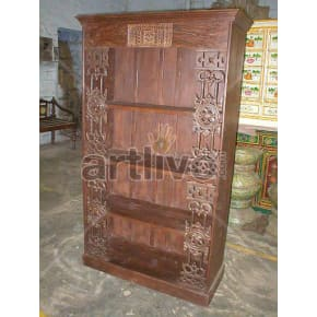 Vintage Indian Engraved Palatial Solid Wooden Teak Bookshelf