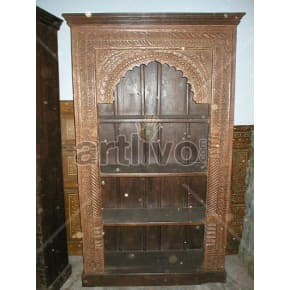 Vintage Indian Engraved Plush Solid Wooden Teak Bookshelf