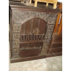 Vintage Indian Engraved Stately Solid Wooden Teak Bookshelf