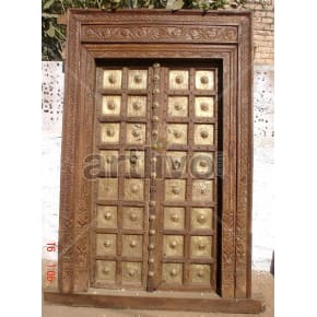 Vintage Indian Carved Rich Solid Wooden Teak Door with Brass work