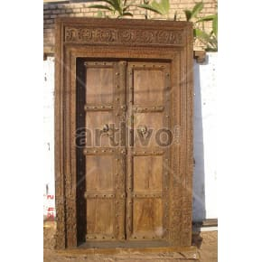 Vintage Indian Carved Unique Solid Wooden Teak Door