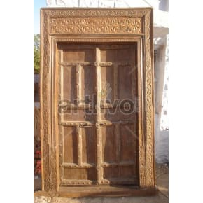 Vintage Indian Carved Opulent Solid Wooden Teak Door