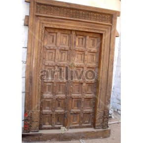 Vintage Indian Carved Deluxe Solid Wooden Teak Door