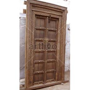 Vintage Indian Carved Supreme Solid Wooden Teak Door