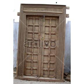 Vintage Indian Carved Splendid Solid Wooden Teak Door