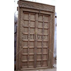 Vintage Indian Carved Marvellous Solid Wooden Teak Door