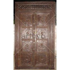 Vintage Indian Brown Palatial Solid Wooden Teak Door