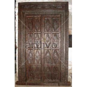 Vintage Indian Brown Illustrious Solid Wooden Teak Door