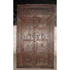 Vintage Indian Brown Imperial Solid Wooden Teak Door
