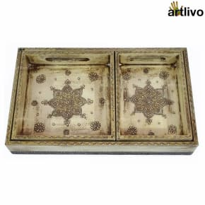 EMBOSSED Ivory Black 3pc Tray Set