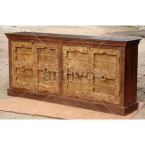 Antique Indian Chiselled Deluxe Solid Wooden Teak Sideboard with metal circular handle