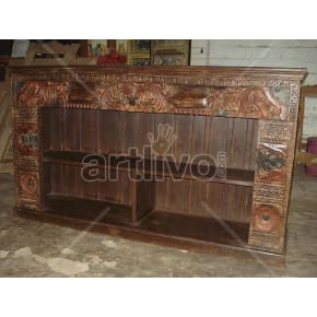 Vintage Indian Carved imperial Solid Wooden Teak Sideboard with open side