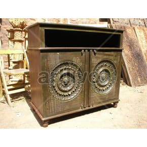 Vintage Indian Brown Supreme Solid Wooden Teak Sideboard with 2 door circular design