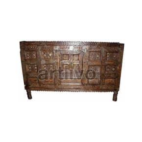 Vintage Indian Engraved illustrious Solid Wooden Teak Sideboard