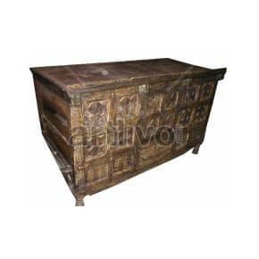 Vintage Indian Engraved imperial Solid Wooden Teak Sideboard